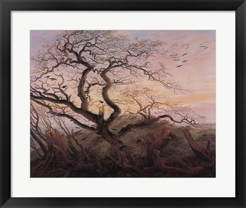 Framed Tree with Crows Print