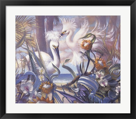 Framed White Pair At Gulfside Print