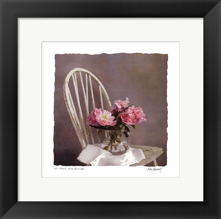 Framed Old Chair With Peonies Print