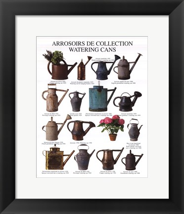 Framed Watering Cans Print