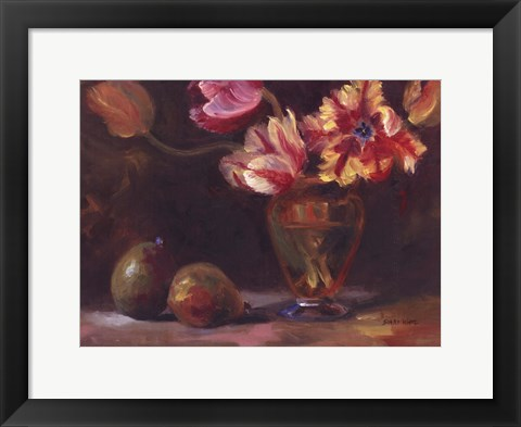 Framed Parrot Tulips With Pears Print