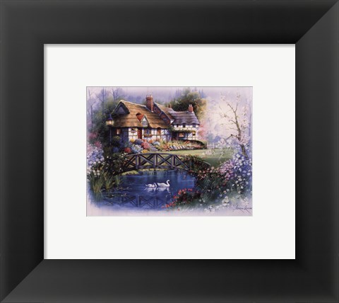 Framed Coutnry Cottages - bridge Print