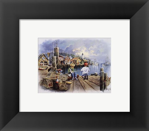 Framed Fishing Docks Print