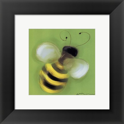Framed Bee On Green Print
