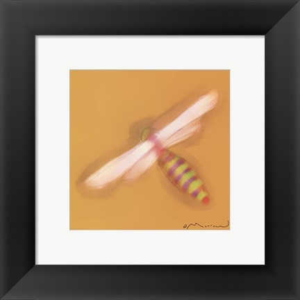 Framed Dragonfly On Yellow Print