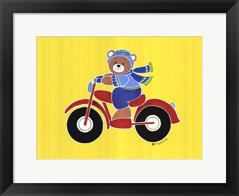 Framed Bear on Motorcycle Print