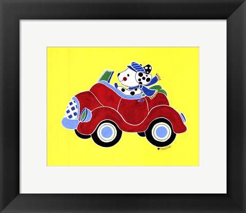 Framed Dog in Car Print