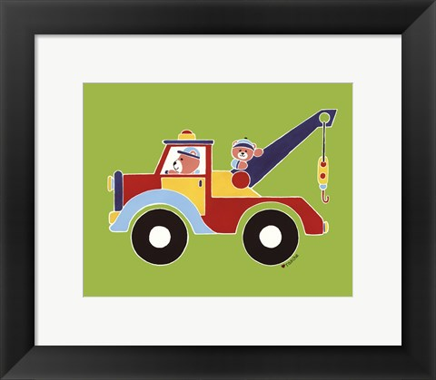 Framed Bears in Tow Truck Print