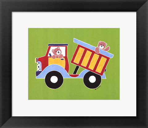 Framed Bears in Dump Truck Print