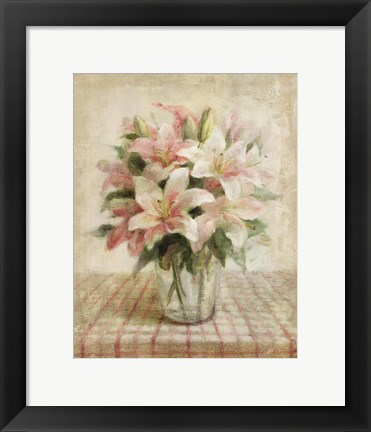 Framed Cottage Lilies in Pink Print