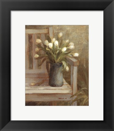 Framed Tulip Bouquet on Bench Print
