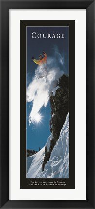 Framed Courage-Snowboard Print