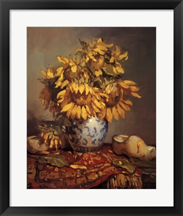 Framed Sunflowers of the Rhine Print