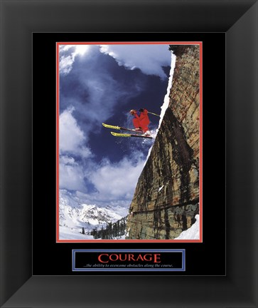 Framed Courage-Skier Print
