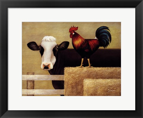 Framed Barnyard Cow Print