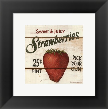 Framed Sweet and Juicy Strawberries Print