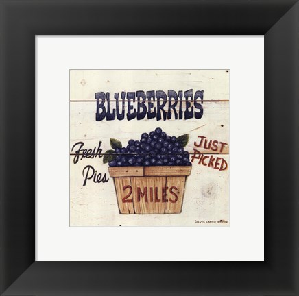Framed Blueberries Just Picked Print
