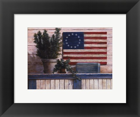 Framed Old Flag With Ivy Print