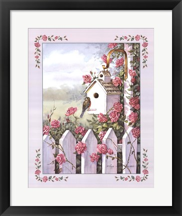 Framed Birdhouse With Roses Print