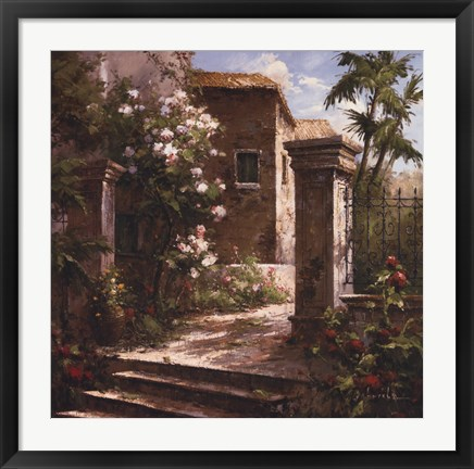 Framed Courtyard With Flowers Print