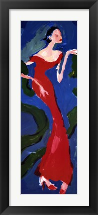 Framed Haute-Couture II (Red On Blue) Print