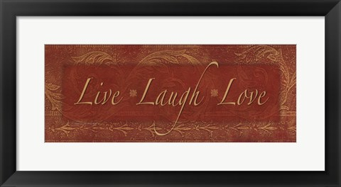 Framed Live Laugh Love - red Print