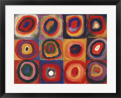 Framed Squares With Concentric Rings Print