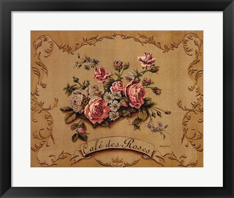 Framed Cafe Des Roses Print