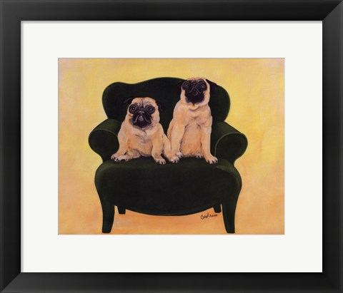Framed Katie And Daisy The Pugs Print