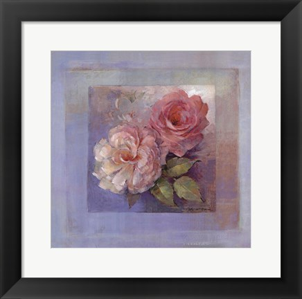 Framed Roses on Blue I Print