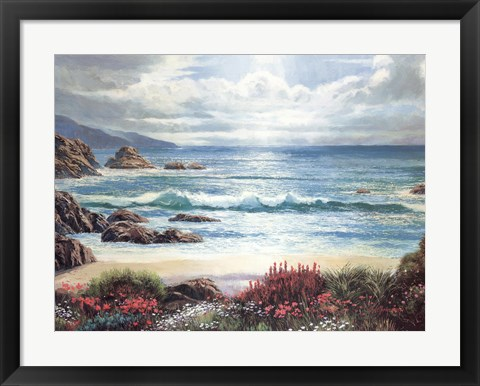 Framed Blossoms By The Ocean Print