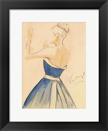Framed Blue Dress II Print