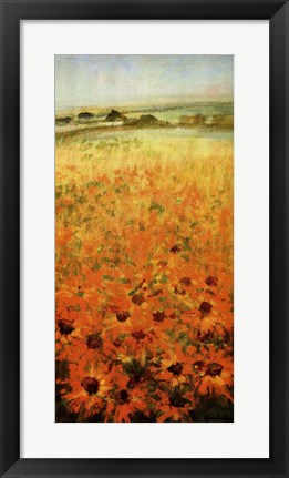 Framed Field With Sunflowers Print