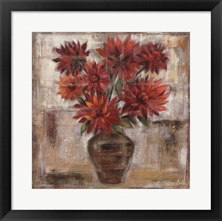 Framed Dahlia's In Bronze Vase Print