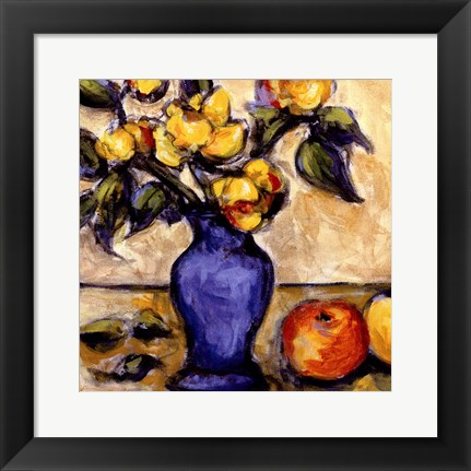 Framed Blue Vase Of Yellow Peonies Print