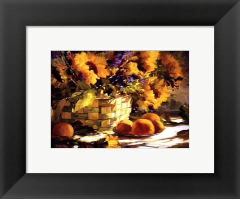 Framed Sunflowers With Purple Print