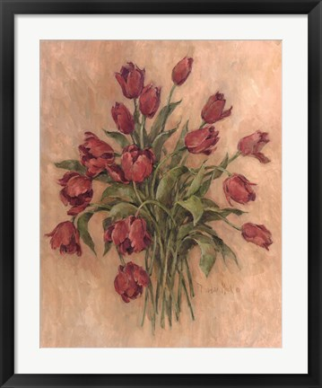 Framed Blossoms In Red Print