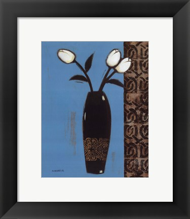 Framed White Flowers Black Vase II Print