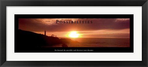 Framed Possibilities - Lighthouse At Sunset Print