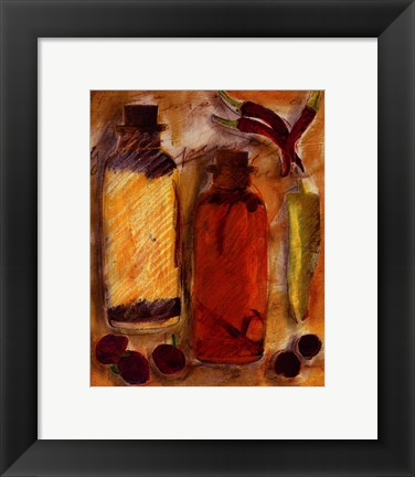 Framed Peppers and Oil ll Print