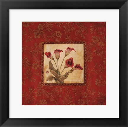 Framed Callas In Red Print