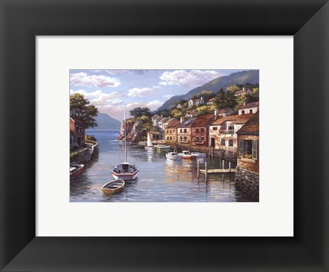 Framed Village On The Water Print
