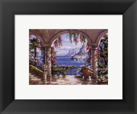Framed Floral Patio I Print