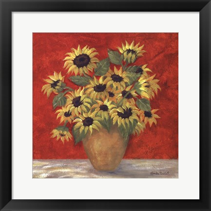 Framed Yellow Sunflowers In French Vase Print