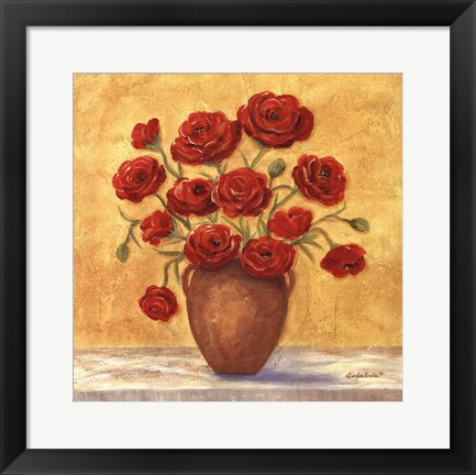 Framed Red Ranunculus In French Vase Print