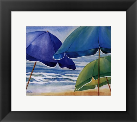Framed Seaside Umbrellas Print