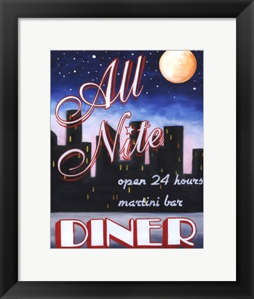Framed All Nite Diner Print