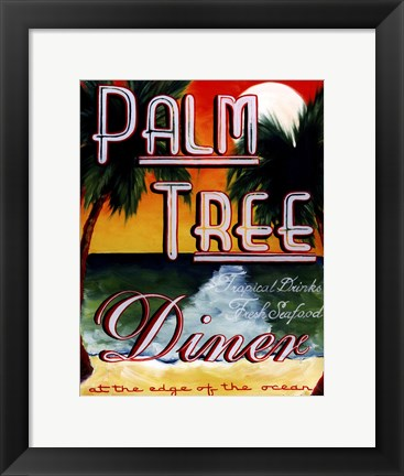 Framed Palm Tree Diner Print