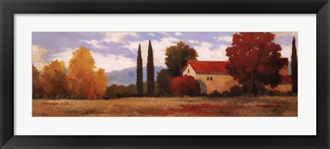 Framed Burgundy Farmhouse I Print