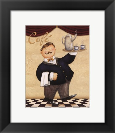 Framed Waiter - Cafe Print